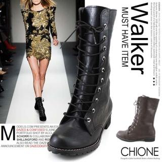 Picture of Chione Lace-Up Mid-Calf Boots 1023068400 (Boots, Chione Shoes, Korea Shoes, Womens Shoes, Womens Boots)