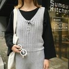Lace Up Sleeveless Knit Dungaree 1596