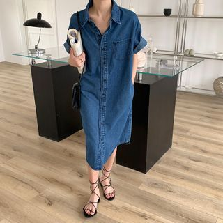 Image of Elbow-Sleeve Midi Denim Shirtdress Denim Blue - One Size