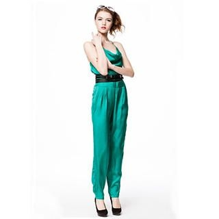Sleeveless Cowlneck Silk Jumpsuit