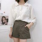 Plain 3/4-Sleeve Shirt 1596