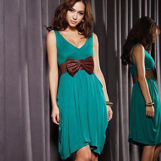 Buy Joanne Kitten Sleeveless V-Neck Pleated Party Dress 1022543468