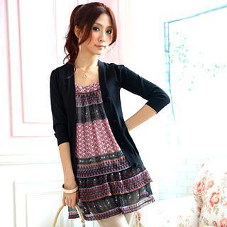 Buy Tokyo Fashion Inset Cardigan Long Printed Chiffon Tunic 1022491128