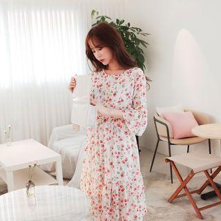 Floral Print Chiffon A-Line Dress 1065714441
