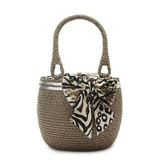 Buy Let's Fly Bow Trim Woven Shoulder Bag Brownish – One Size 1022938195