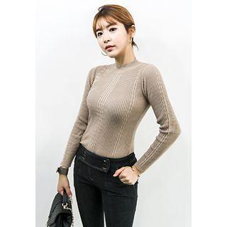 Mock-Neck Ribbed Sweater 1055026268
