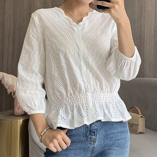 Image of 3/4-Sleeve Peplum Lace Top