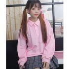 Heart Applique Long-Sleeve Polo Shirt 1596