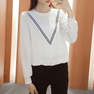 Striped Pullover White - One Size 1053105190
