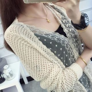 Lace Panel Open Knit Cardigan 1050435067