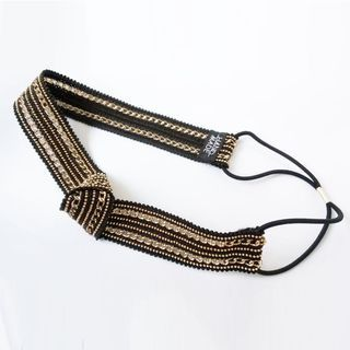 Image of Patterned Head Band Gold - Black - One Size