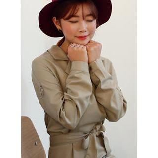 Pocket-Detail Shirt Dress With Sash