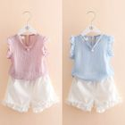 Kids Set: Faux Pearl Frill Trim Tank Top + Shorts 1596