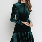 Long-Sleeve Velvet Pleated Mini Dress 1596