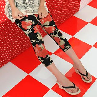 Picture of 59 Seconds Cropped Floral Print Harem Pants Black - One Size 1022445071 (Womens Cropped Pants, 59 Seconds Pants, Hong Kong Pants)