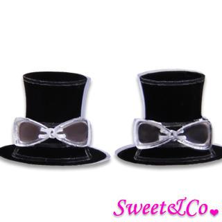 Sweet Mirror Hatter Ribbon Stud Earrings Silver - One Size
