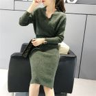 Scalloped Long-Sleeved Sweater Dress 1596