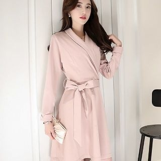 Long-Sleeve Tie-Waist Dress 1056425118