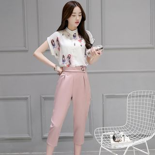 Set: Printed Blouse + Capri Pants 1058141862