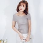 Ribbed Short-Sleeve T-Shirt 1596