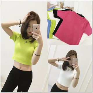 Short-Sleeve Ribbed Knit Crop Top 1050220090