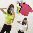 Short-Sleeve Ribbed Knit Crop Top 1596