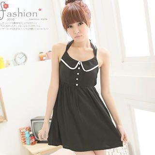 Buy eFashion Contrast-Trim Pintuck Halter Dress 1023018579