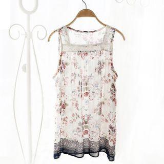Lace-Trim Sleeveless Top 1059646764