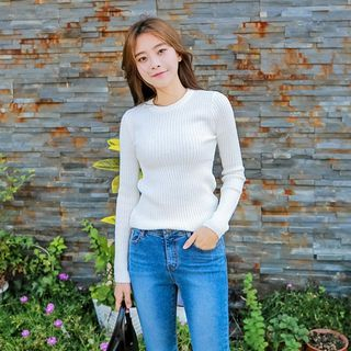 Round-Neck Ribbed Knit Top 1062499855