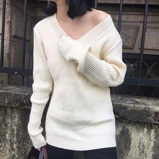 V-Neck Ribbed Sweater 1057379665