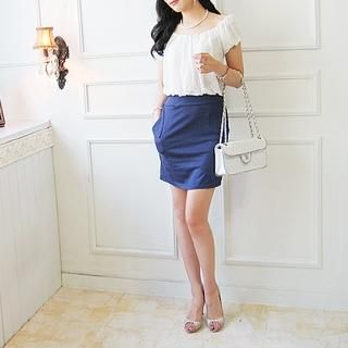 Buy Shebon Shirred Mock Two-Piece Dress 1022838791