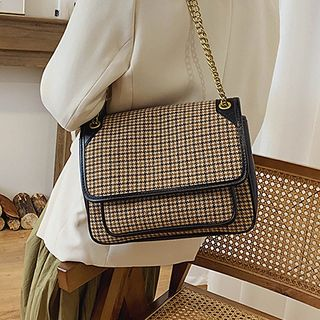 Image of Chain Strap Houndstooth Crossbody Bag