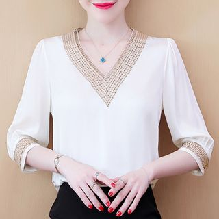 Image of Elbow-Sleeve Crochet Trim Chiffon Blouse