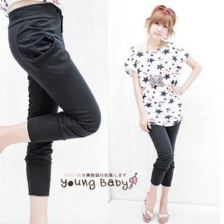 Buy YoungBaby Drawstring Shirred Cropped Sweatpants 1022951314