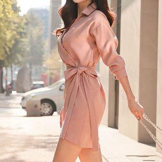 Long-Sleeve Tie-Waist Dress 1063608595