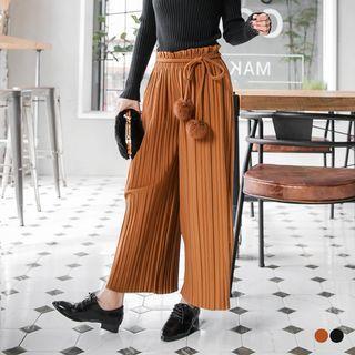 Pommed Self-Tie Pleated Gaucho Pants 1056958602