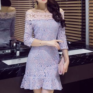 Off-Shoulder Ruffle Hem Lace Dress 1059836249