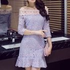 Off-Shoulder Ruffle Hem Lace Dress 1596