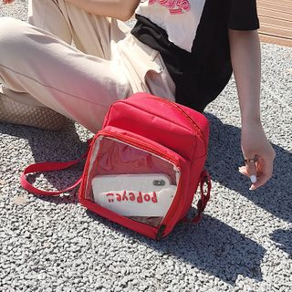 Image of Transparent Faux Leather Crossbody Bag