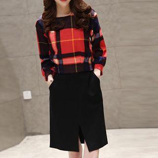Set: Long-Sleeve Check Blouse + Slit Skirt