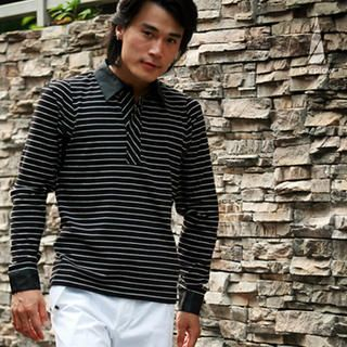 Buy Purplow Striped Long Sleeve Shirt in Black 1004594794