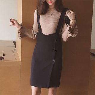 Set: Ribbed Knit Long Sleeve Top + Side Buttoned Pinafore Dress 1053753450