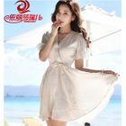 V-neck Short-Sleeve Chiffon Dress 1596