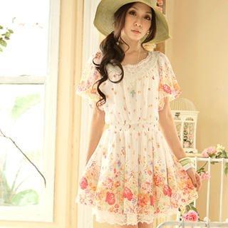 Buy Tokyo Fashion Lace-Collar Floral Chiffon Dress 1023000514
