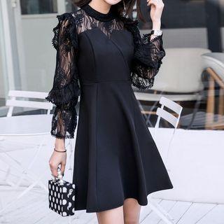 Image of 3/4-Sleeve Lace Panel Mini A-Line Dress