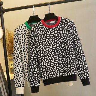 Image of Leopard Print Jacquard Sweater