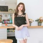 Sleeveless Mesh Panel Lace Top 1596