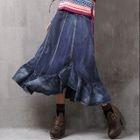 Ruffle Hem Midi Denim Skirt 1596