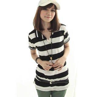 Buy CatWorld Short-Sleeve Striped Polo Shirt 1022885021