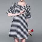 Stripe Bell-Sleeve Dress 1596